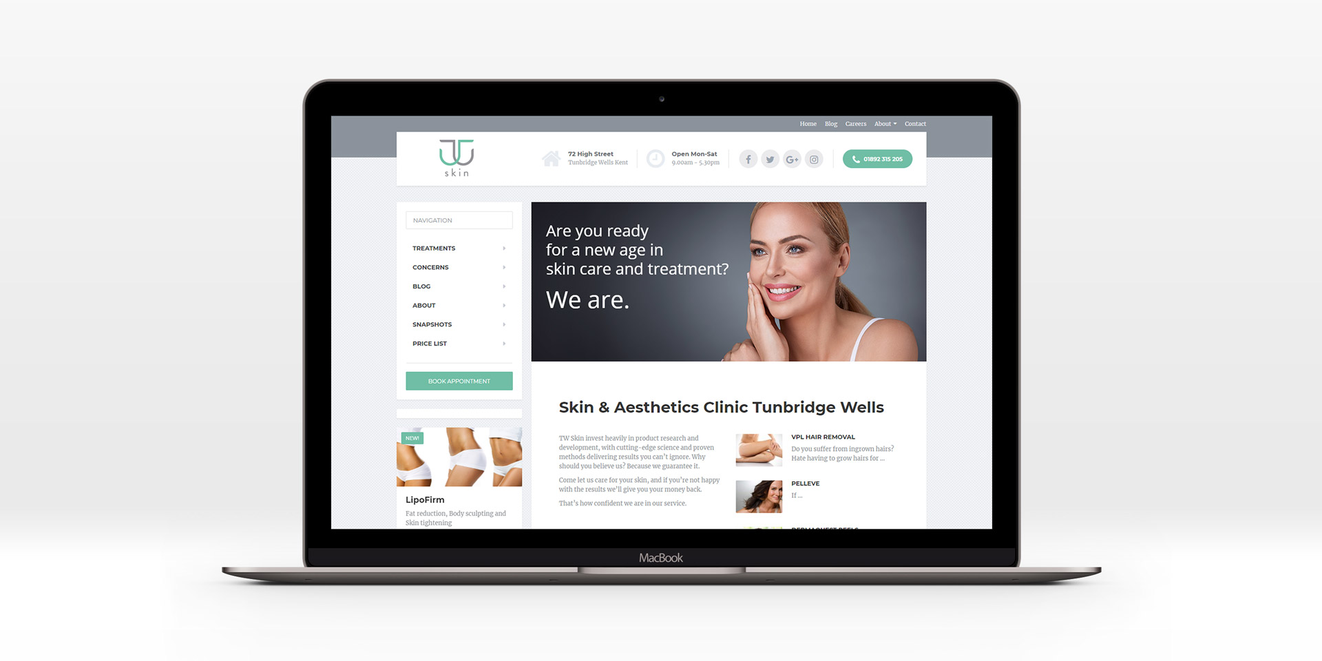 TW Skin Clinic website design