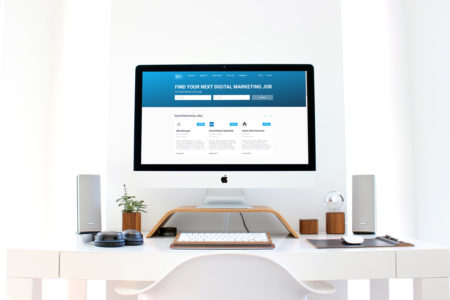 website design mockup of Digital Marketing Jobs board on a iMac