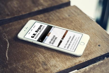 GR Regan Roofing responsive website iphone