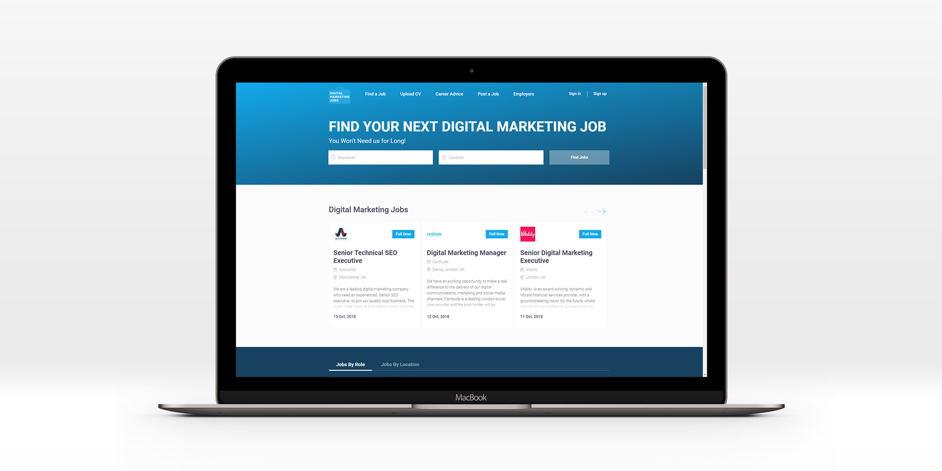 job board recruitment website design for Digital Marketing Jobs on a MacBook